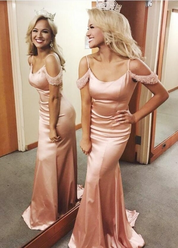 Off-the-shoulder Crystals Pink Long Prom Pageant Dress