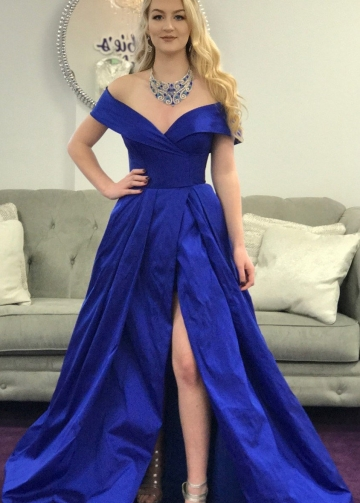 Off-the-shoulder Royal Blue Prom Gowns with Slit Side