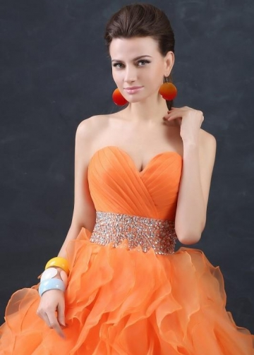 Orange Organza Debutante Ball Gown with Ruffles Skirt
