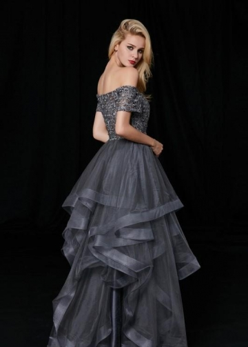 Off-the-shoulder Lace Grey Prom Gown with Netting Trim Skirt
