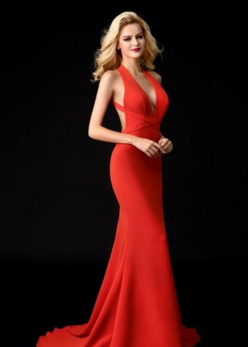Orange Red Mermaid Evening Dress Halter Neckline