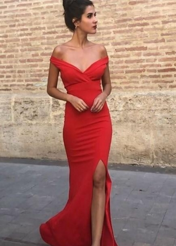 Off-the-shoulder Floor-length Red Evening Dress with Slit Side