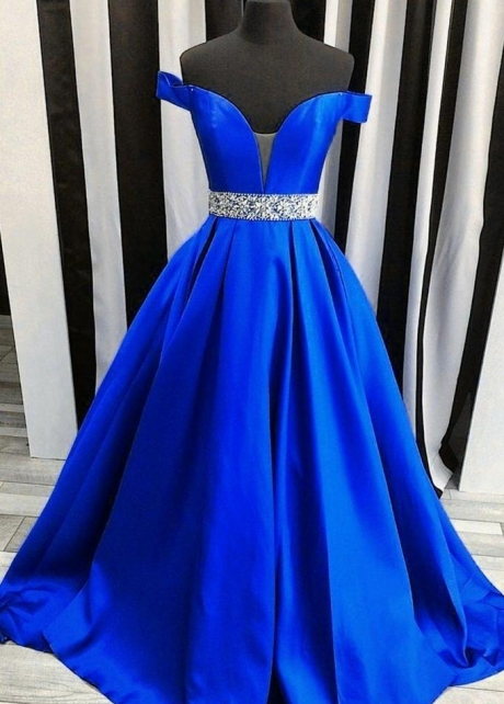 Off-the-shoulder Royal Blue Evening Dress with Rhinestones Belt