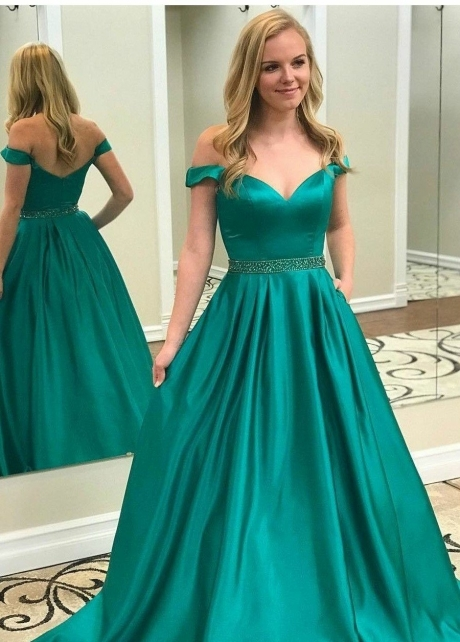 Off-the-shoulder Teal Green Prom Dresses with Beaded Belt