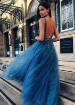 Ocean Blue Tulle Prom Dress with Beaded Bodice