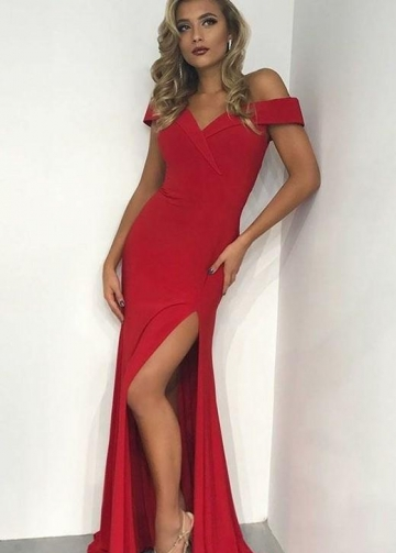 Off-the-shoulder Red Evening Gown with Thigh Slit Side