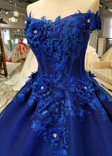 Off-the-shoulder Royal Blue Evening Dresses with 3D Floral Lace