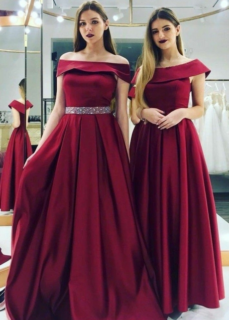 Off Shoulder Burgundy Evening Dress Beaded Belt