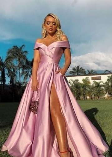 Off-the-shoulder Pink Prom Gowns with High Leg Slit