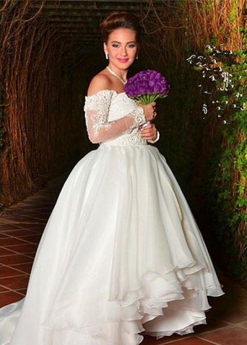 Off-the-shoulder Organza Wedding Dress with Lace Sleeves