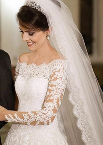 Off-the-shoulder Lace Wedding Dresses with Long Sleeves