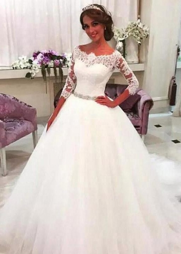 Off-the-shoulder Lace 3/4 Sleeves Wedding Gown with Rhinestones Belt Sash