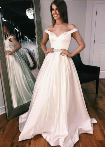 Off-the-shoulder Sweetheart A-line Satin Wedding Gown with Beaded Belt