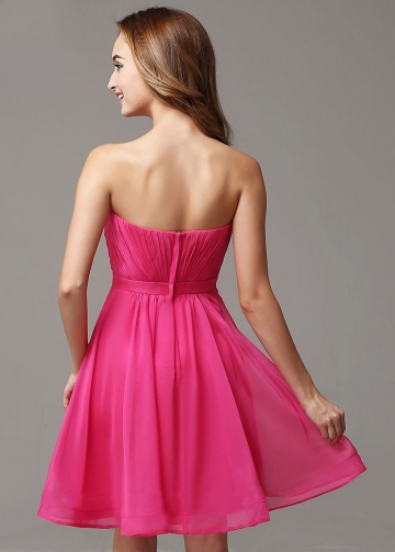 Pleated Sweetheart Simple Fuchsia Homecoming / Short Bridesmaid Dress