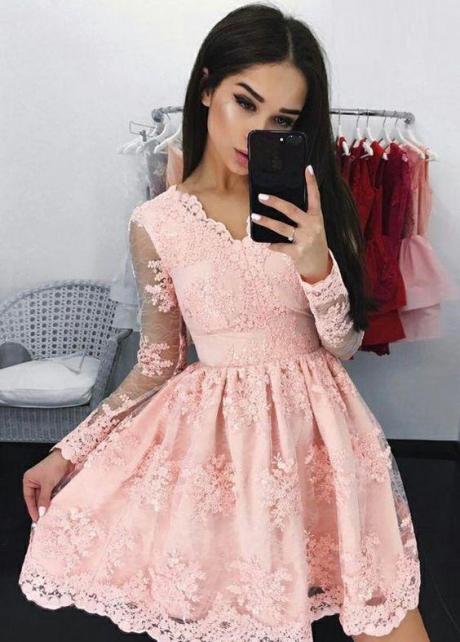 Pink Lace Long Sleeves Homecoming Party Dresses with V-Neckline