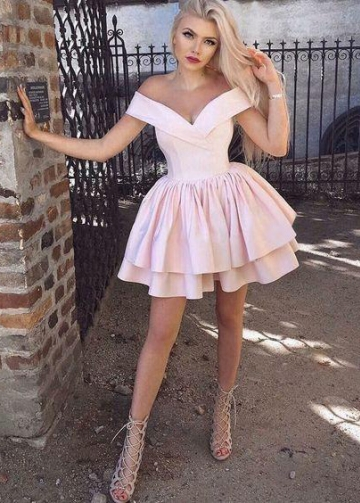 Pink Satin Homecoming Dress Short Tiered Skirt vestido de formatura