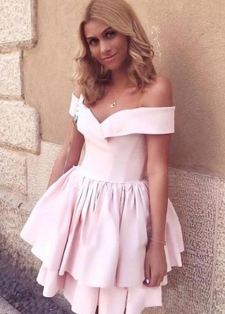 Pink Satin Homecoming Dress Short Tiered Skirt vestido de formatura