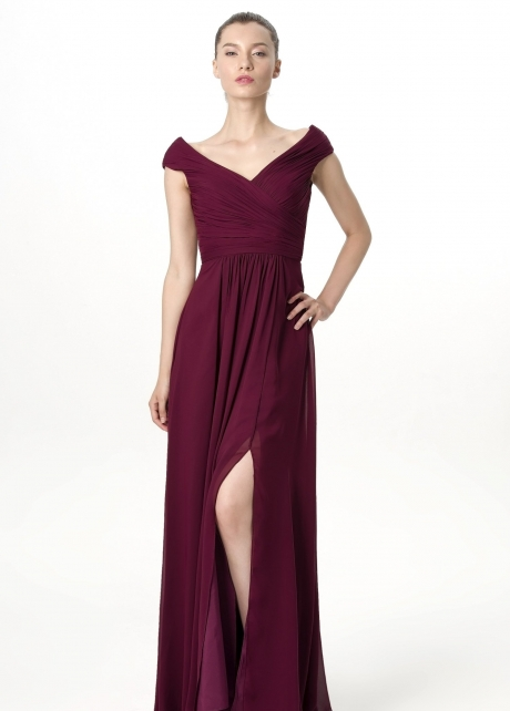 Plunging V-neck Cap Sleeves Burgundy Bridesmaid Gown with Slit Side