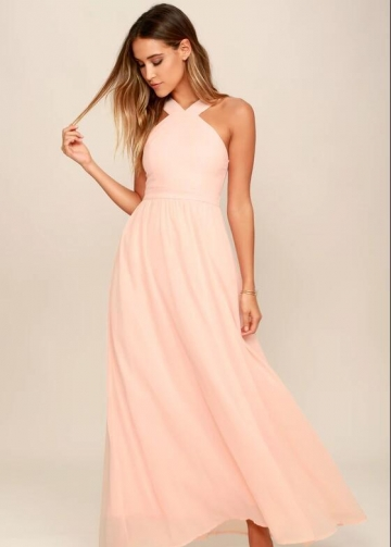 Peach Chiffon Bridesmaid Dresses Long Maxi Dress