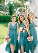 Pleated Teal Hi-lo Bridesmaid Dresses with Tulle Skirt