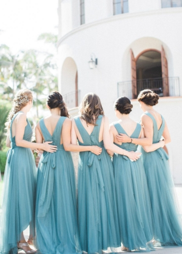 Pleated Teal Hi-lo Bridesmaid Dresses with Tulle Skirt