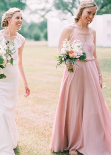 Pink Boho Bridesmaid Dresses with Strappy Chiffon Skirt