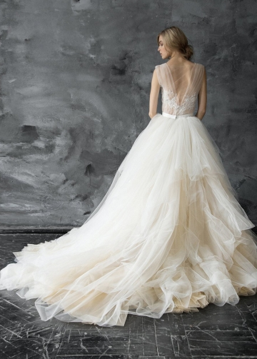 Plunging V-neck Illusion Lace Ball Gown Wedding Dress with Tulle Train