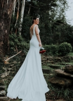 Plunging V-neckline Simple Italian Satin Wedding Dresses with Cathedral Train