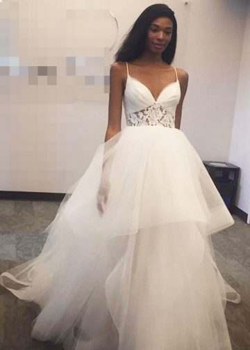 Princess Ivory Ball Gown with Spaghetti Straps Bride Dresses