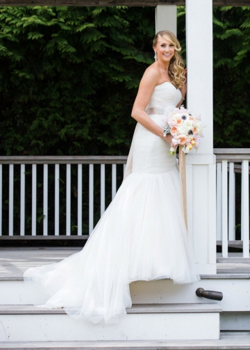 Pleated Sweetheart Mermaid Wedding Dress with Tulle Skirt