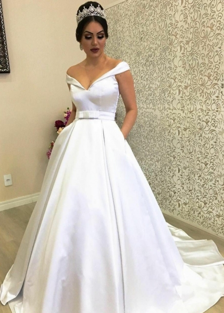 Plunging Off-the-shoulder Satin Ball Gown Wedding Dress with Pockets