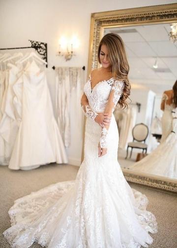 Plunging V-neckline Tulle Mermaid Wedding Dresses Long Sleeves