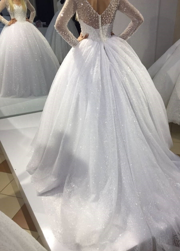 Pearls Long Sleeves Wedding Gown Dress with Sequin Skirt