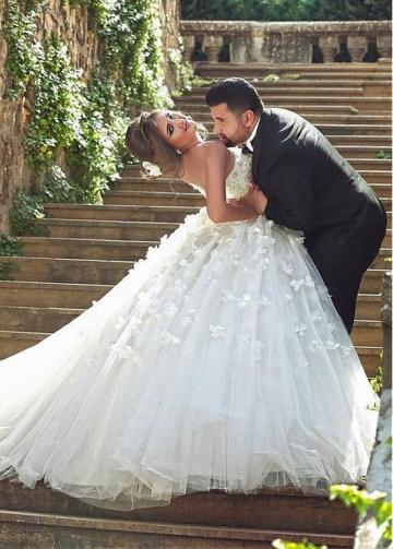 Petal Flowers Strapless Ball Gown Wedding Dress Corset Back