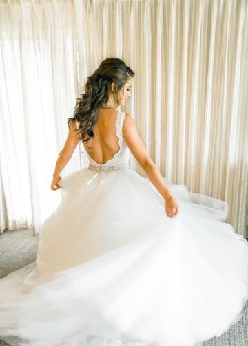 Plunging V-neckline Lace Wedding Dress with Detachable Overskirt