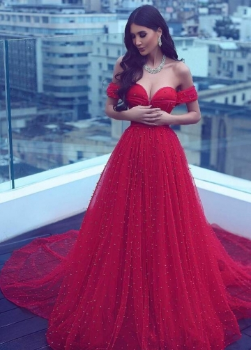 Pearls A-line Red Prom Dresses with Off-the-shoulder vestido de fiesta