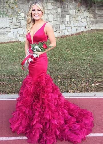 Plunging V-neckline Mermaid Evening Prom Dresses with Ruffled Skirt