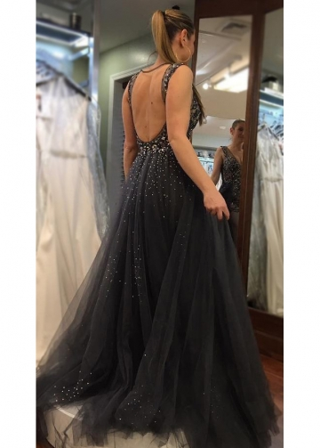 Plunging V-neck Dusty Navy Prom Gown Beaded Bodice