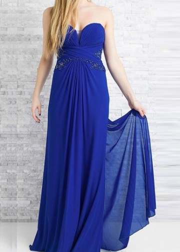 Pleat Sweetheart Chiffon Royal Blue Prom Long Dresses Backless