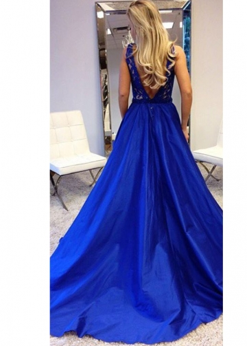 Plunging V-neck Royal Blue Lace Prom Dresses with Satin Skirt