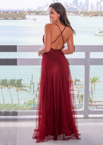 Plunging V-neck Boutique Wine Tulle Maix Long Dress Prom