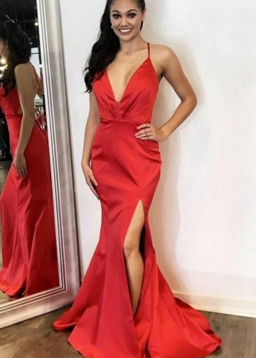 Plunging V-neckline Satin Red Prom Dresses Slit Side