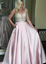 Pink Satin Prom Dresses with Rhinestones Bodice