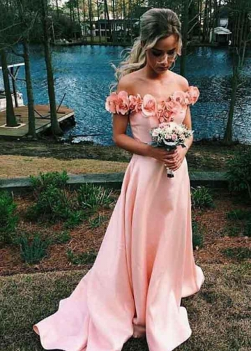 Pink Flowers Off-the-shoulder Prom Dresses with Satin Skirt