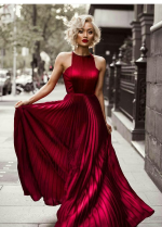 Pleated Long Burgundy Evening Dress with High Neckline