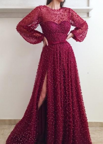 Pearls Sheer Neckline Evening Dresses with Loose Sleeves