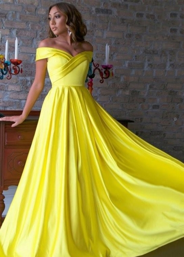 Pleated Off-the-shoulder Long Prom Dress Websites