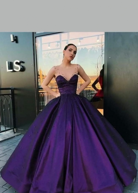 Purple Satin Ball Gown Dinner Party Dress with Illusion Straps