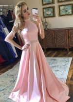 Pink Satin Prom Party Dresses with Beaded Halter Neckline