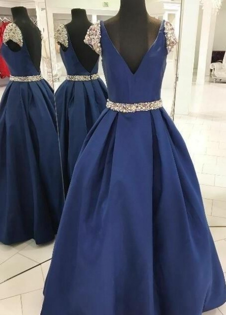Pearls Beaded Blue Prom Dresses with Cap Sleeves
